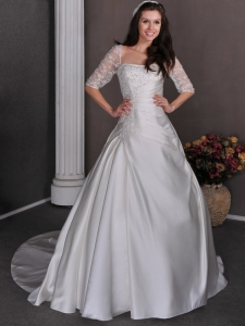 Square Neck Lace Sleeves Wedding Dress Appliques and Beading