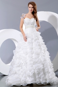 Ruffles Beading Sweetheart Court Train Wedding Dress