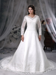 V-neck Lace Sleeves Court Train Satin Wedding Dress
