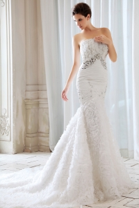 Rolling Flowers Beading and Appliques Mermaid Wedding Dress