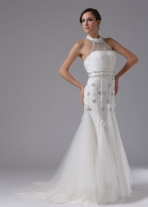 High-neck Lace Beading Brush Train Wedding Dress
