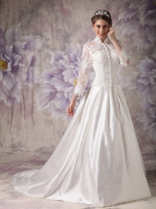 High-neck Lace Button Sleeves Satin Wedding Dress
