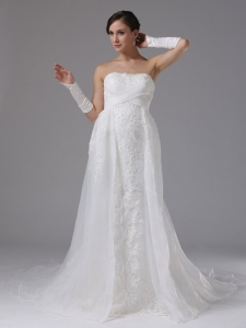 Wedding Dress Lace and Organza Strapless Brush Train