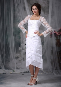Square Neck Beading Lace Sleeves Tea-length Wedding Dress