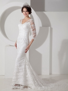 Mermaid Lace Sleeves V-neck Brush Train Wedding Dress