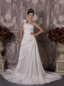 One Shoulder Appliques Court Train Wedding Dress
