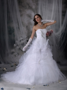 Strapless Beading and Hand Made Flowers Wedding Dress
