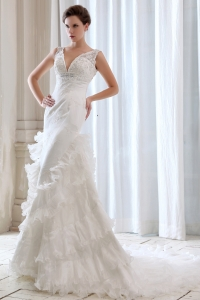 Lace and Beads V-neck Wedding Dress with Ruched Ruffles