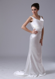Satin Mermaid V-Neck Brush Train Wedding Dress