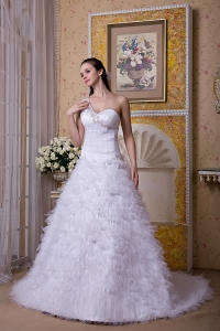 One Shoulder Appliques Tulle Court Train Wedding Dress