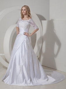 Scoop Lace Sleeves Layers Wedding Dress Court Train Satin