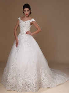 Off Shoulder Apliques Wedding Dress Court Train