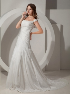 Chapel Train Straps Beading Taffeta Wedding Dress