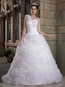 Hand Made Flowers Wedding Dress One Shoulder Brush Train