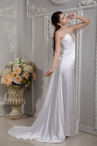 Straps Beading and Ruch Brush Train Wedding Dress