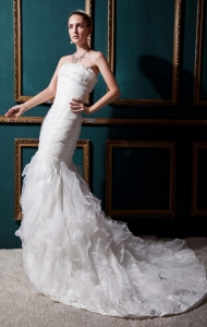 Floral Mermaid Wedding Dress Organza Ruffles and Ruches