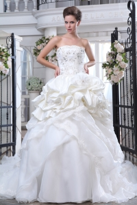 Beading and Appliques Strapless Wedding Dress Ball Gown