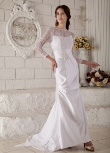 Bateau Lace and Appliques Sleeves Mermaid Wedding Dress