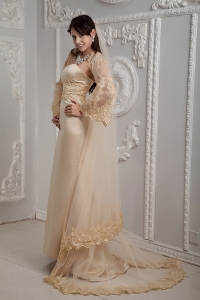 Champagne Lace Strapless Brush Train Wedding Dress