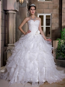 Hand Made Flowers Sweetheart Organza Ruffles Wedding Dress