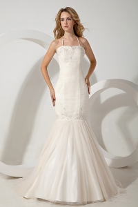 Halter Appliques Mermaid Brush Train Wedding Dress