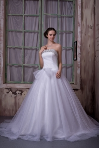 Beading Bow Strapless Chapel Train Wedding Dress