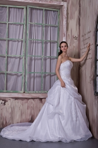 A-line Strapless Chapel Train Wedding Dress with Appliques