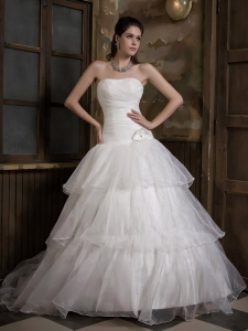Layers Strapless Wedding Dress Hand Made Flower Sweep Train