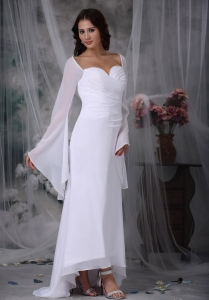 Sleeves weetheart High-low Ruch Chiffon Bridal Dress