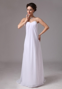 Wedding Dress Strapless With Brush Train Chiffon