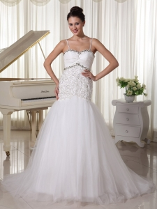 Straps Beading Tulle Court Train Wedding Dress