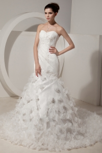 Sweetheart Beading Mermaid Court Train Wedding Dress