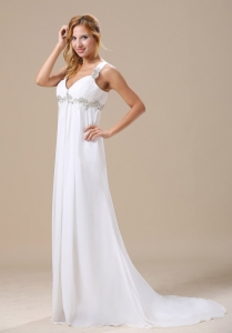 Chiffon Straps Appliques Brush Train Wedding Dress