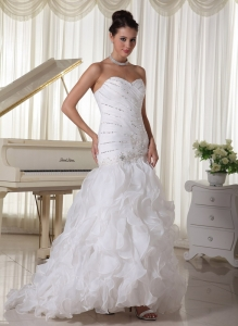 Ruffles Beading Sweetheart Mermaid Wedding Dress