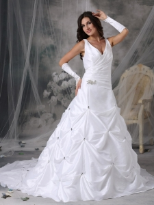 Pick-ups V-neck Beading Ruched Wedding Dress