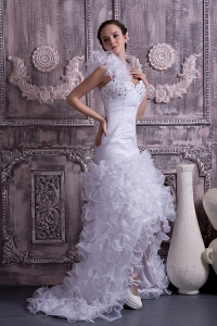 High-low One Shoulder Beading Ruffles Bridal Dress