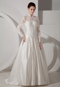 Lace Sleeves Button High-neck Brush Train Wedding Dress