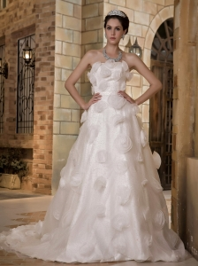 Strapless Wedding Dress Hand Made Flowers Organza