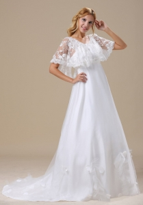 Short Sleeves V-neck Lace Brush Train Wedding Dress