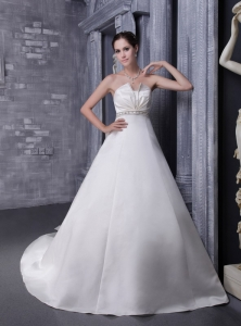 Traditional A-Line Chapel Train Wedding Dress Beaded Waist