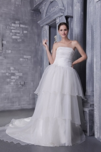 Appliques Strapless Layers Chapel Train Wedding Dress
