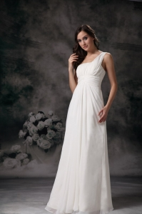 One Shoulder Chiffon Wedding Dress Ruch Floor-length