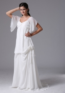 Chiffon Wedding Dress V-neck With Butterfly Sleeves 2013