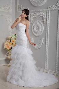 Beading Sweetheart Layers Court Train Mermaid Wedding Dress