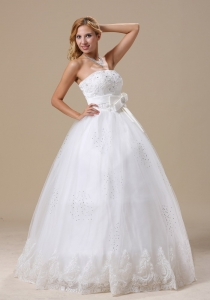 Beading A-line Bowknot Strapless Wedding Dress Lace