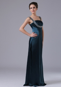 Straps Taffeta Navy Blue Floor-length Prom Dress