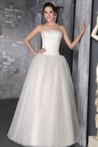 Wedding Dress Pearls Strapless Organza Simple 2013