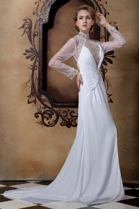 High-neck Beading Sleeves Court Train Wedding Dress