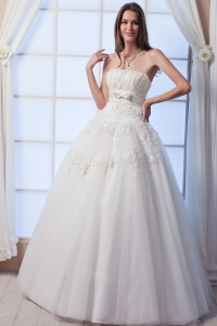 Strapless Lace Wedding Dress Floor-lengthTulle Beading