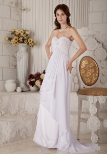 Empire Sweetheart Brush Train Chiffon Ruffles Wedding Dress